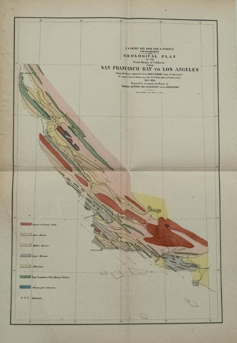 Geological Plan For Pacific Rail Road Surveys Map 1856