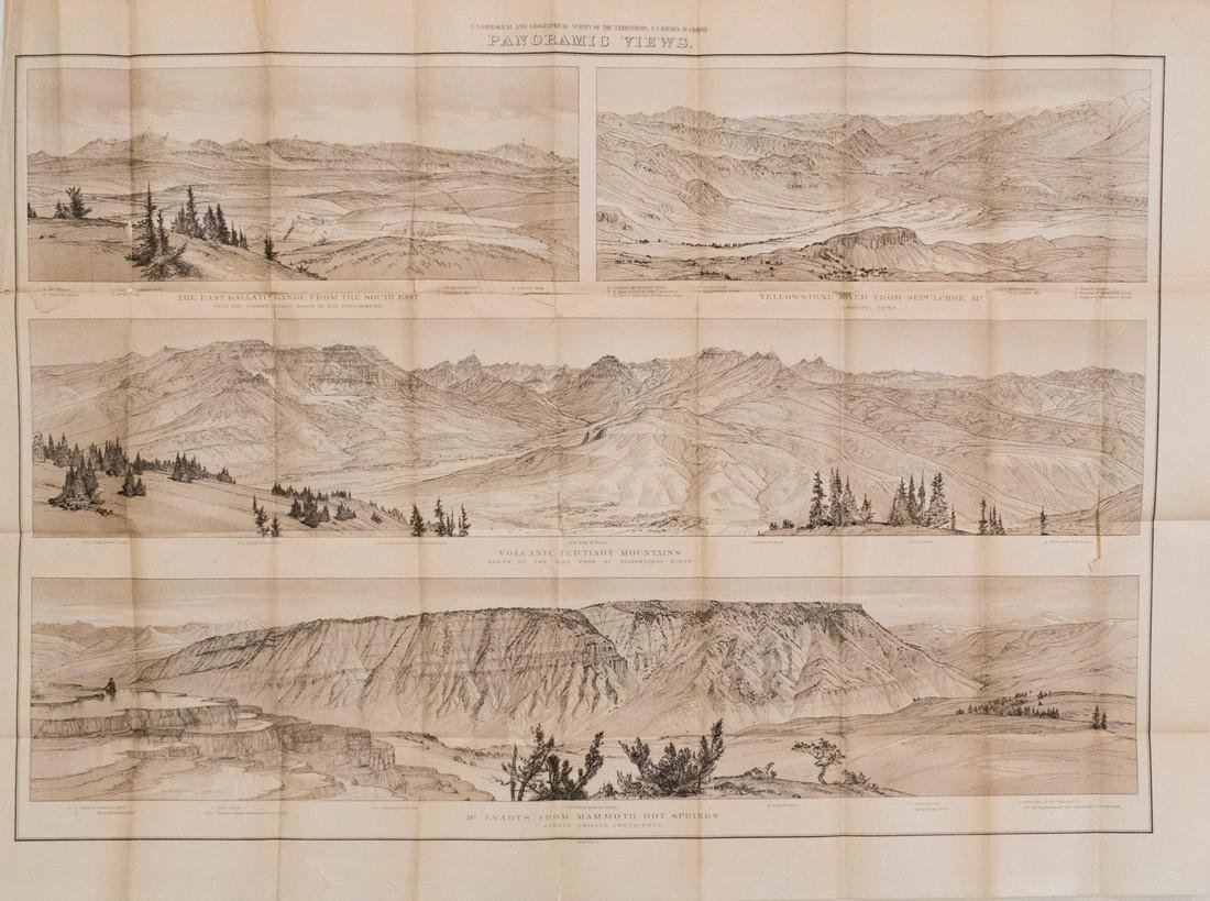 1878 Map Panoramic Views Of Yellowstone