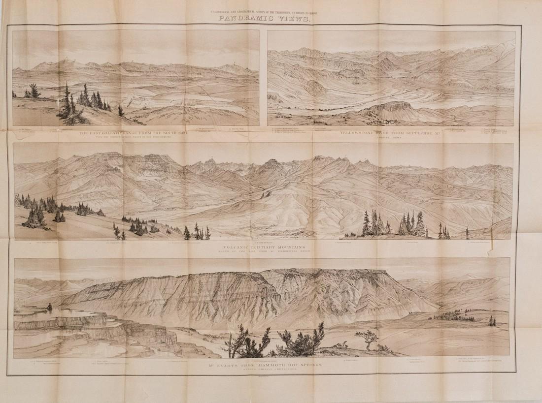 1878 Map Panoramic Views Of Yellowstone