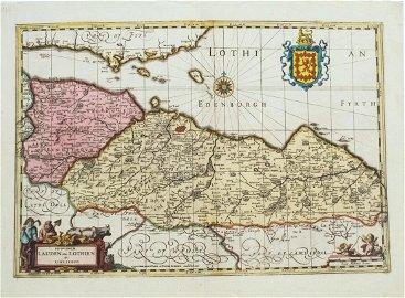 1646 Jansson Map Of Scotland -- Provincae Lauden Seu