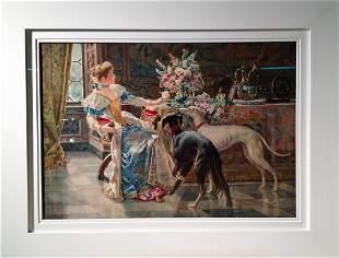 Italian Beauty in Interior (Watercolor)