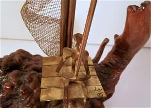 Driftwood Sculpture Object D'art Sailboat
