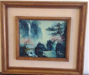 Signed S.T. Young: Asian Waterfall