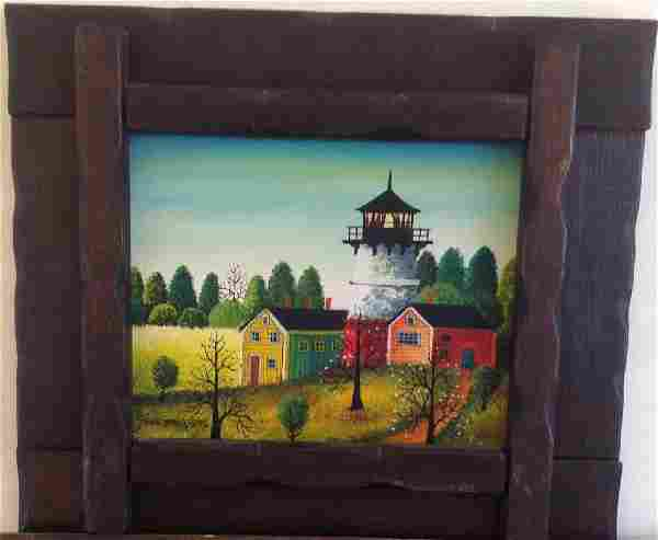 Jonas Bradford Folk Art Oil Painting, Framed