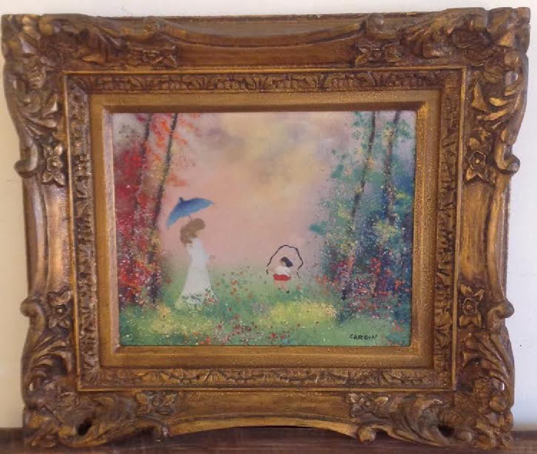 Louis Cardin: Signed Vintage Enamel on Copper Painting
