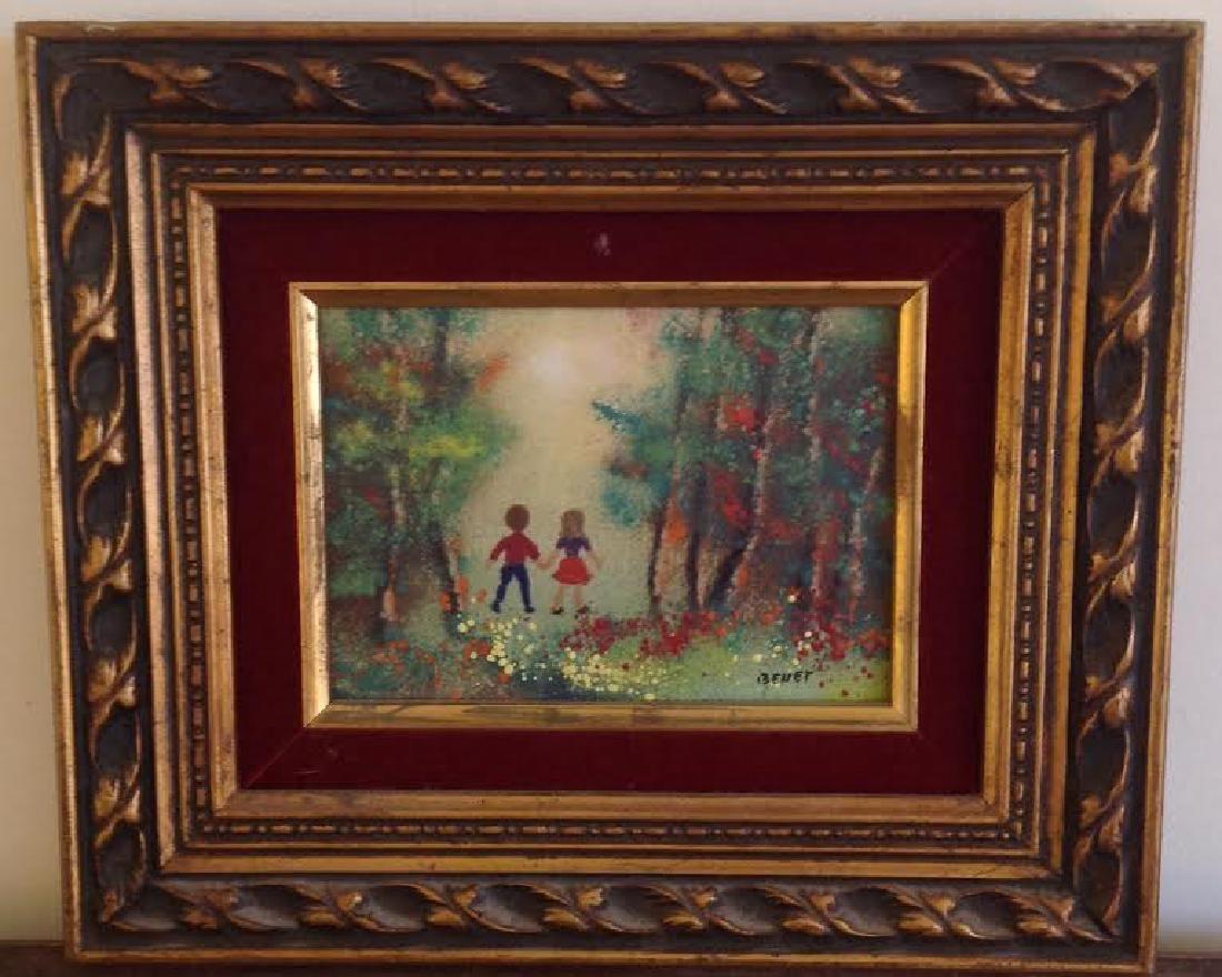 Benet: Signed Vintage Enamel on Copper Painting