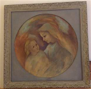 Signed Oil Painting - Madonna & Child