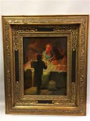 Oil Painting Market Scene with Gold Gilt Frame