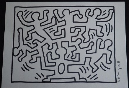 Keith Haring: Jigsaw Men Entwined, Original, Signed