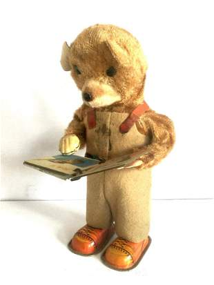 Bear Reading ABC Book Wind Up Toy, 1950s