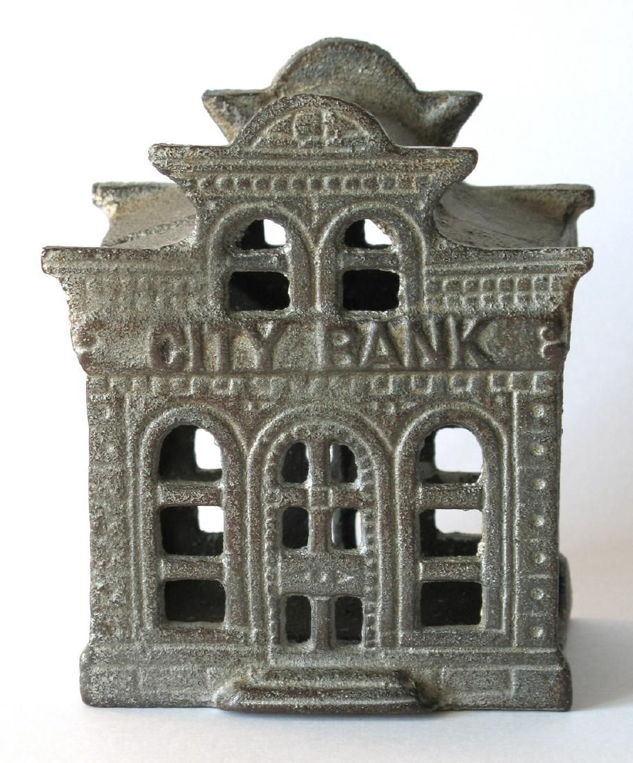 Cast Iron City Bank Made in Two Pieces, 1880