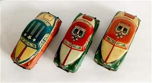 3 Tin Friction Cars, 1950s