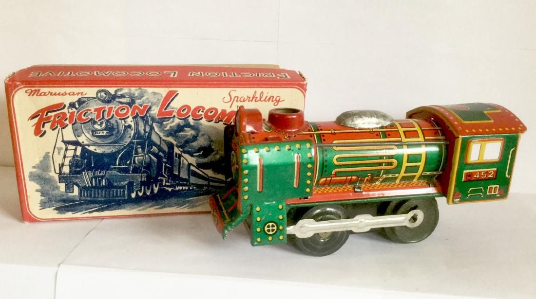 Tin Friction Toy Train with Sparkler, 1950's