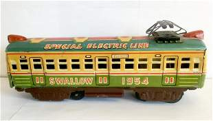 """Tin Friction Toy Trolley Train - """"Swallow 1954"""""""