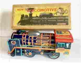 Tin Friction Toy Train New Locomotive, 1950's