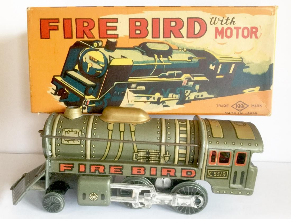 Tin Toy Train with Battery Powered Engine, 1950's