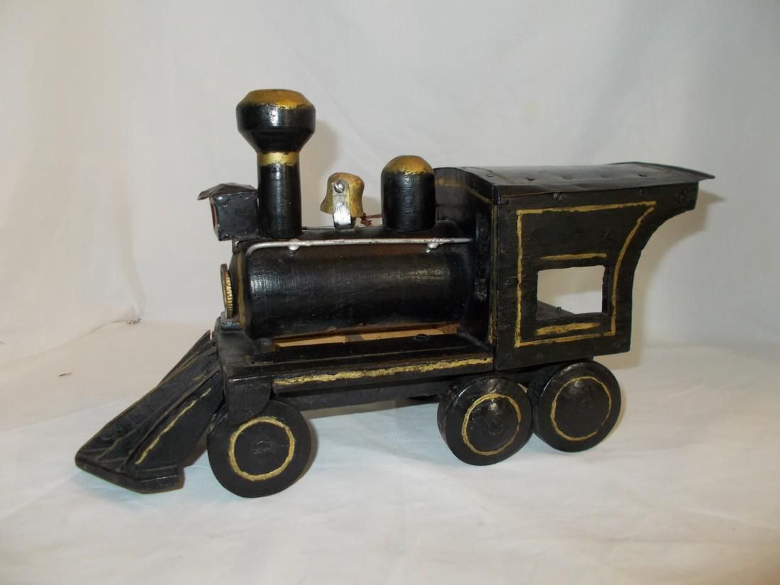 Folky Homemade Toy Train Engine, 20th C