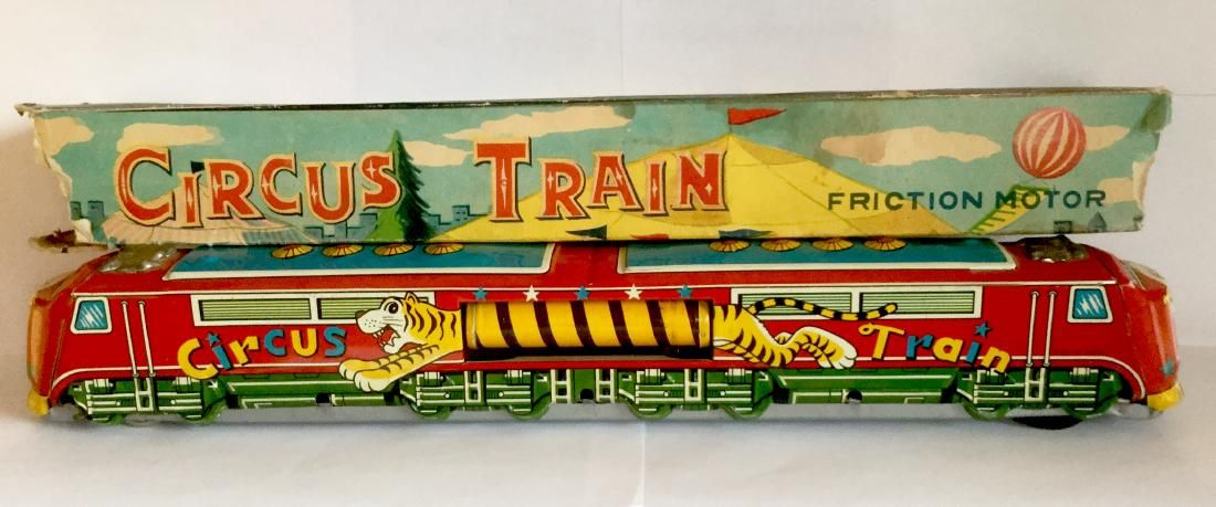 Tin Friction Toy Circus Train, 1950's