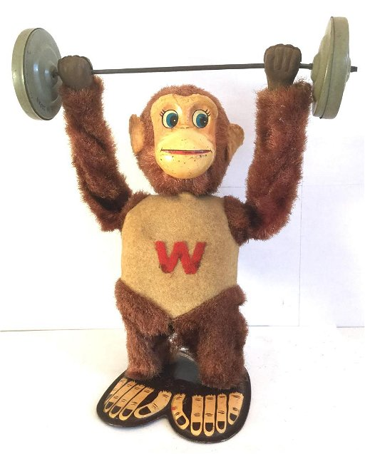 Weight Lifting Monkey Wind Up Toy, 1940s