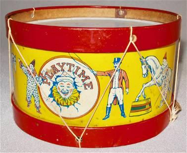Chein Circus Theme Toy Drum, 1920s