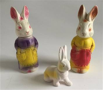 Lot of 3 German Rabbit Candy Containers 1939