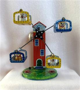 Cat and Dog Ferris Wheel Wind-Up Toy, 1950s