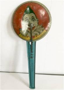 Tin Clown Noise Maker, 1940s