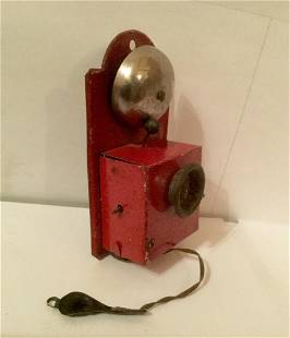 Bell Ringing Telephone Tin Penny Toy, 1920s