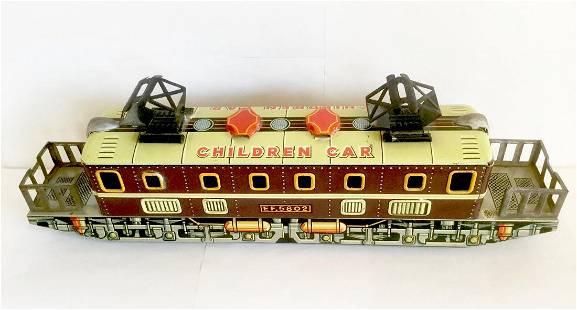 Tin Friction Toy Trolley Train - Children Car, 1950's