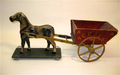 Horse Drawn Wooden Coal Wagon Toy, 1920s