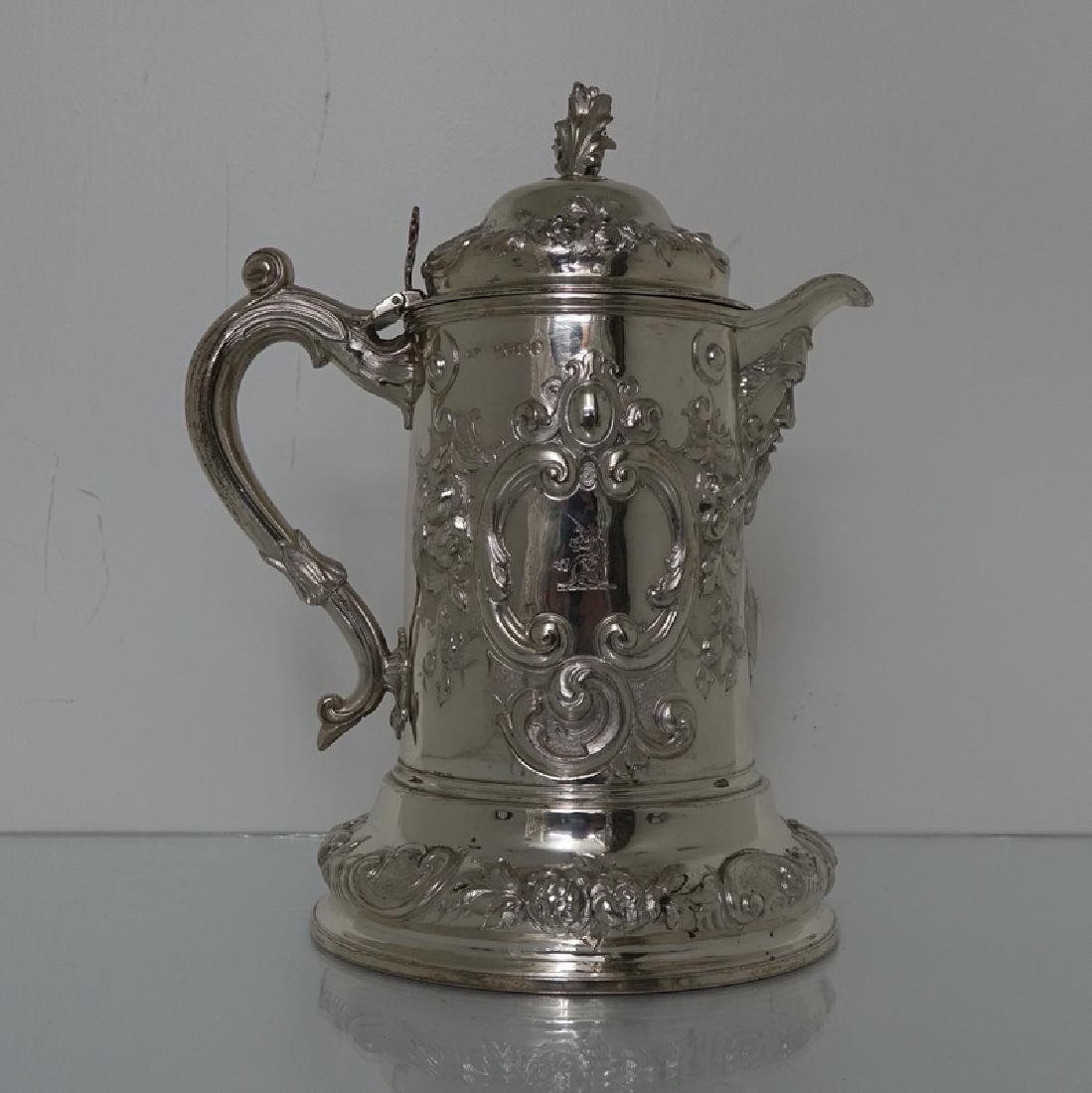 Large Antique Victorian Silver Flagon