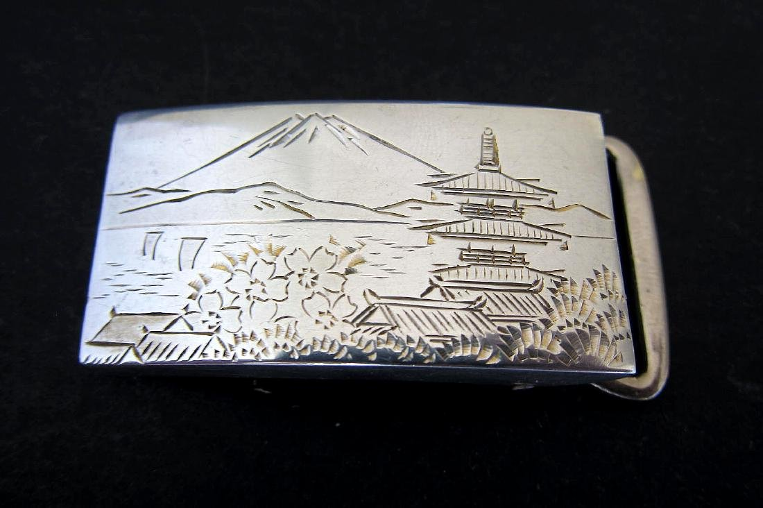 Japanese Gold & Sterling Silver 950 Beltbuckle