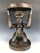 Vintage African Wooden Figural Luba Stool, D.R. Congo
