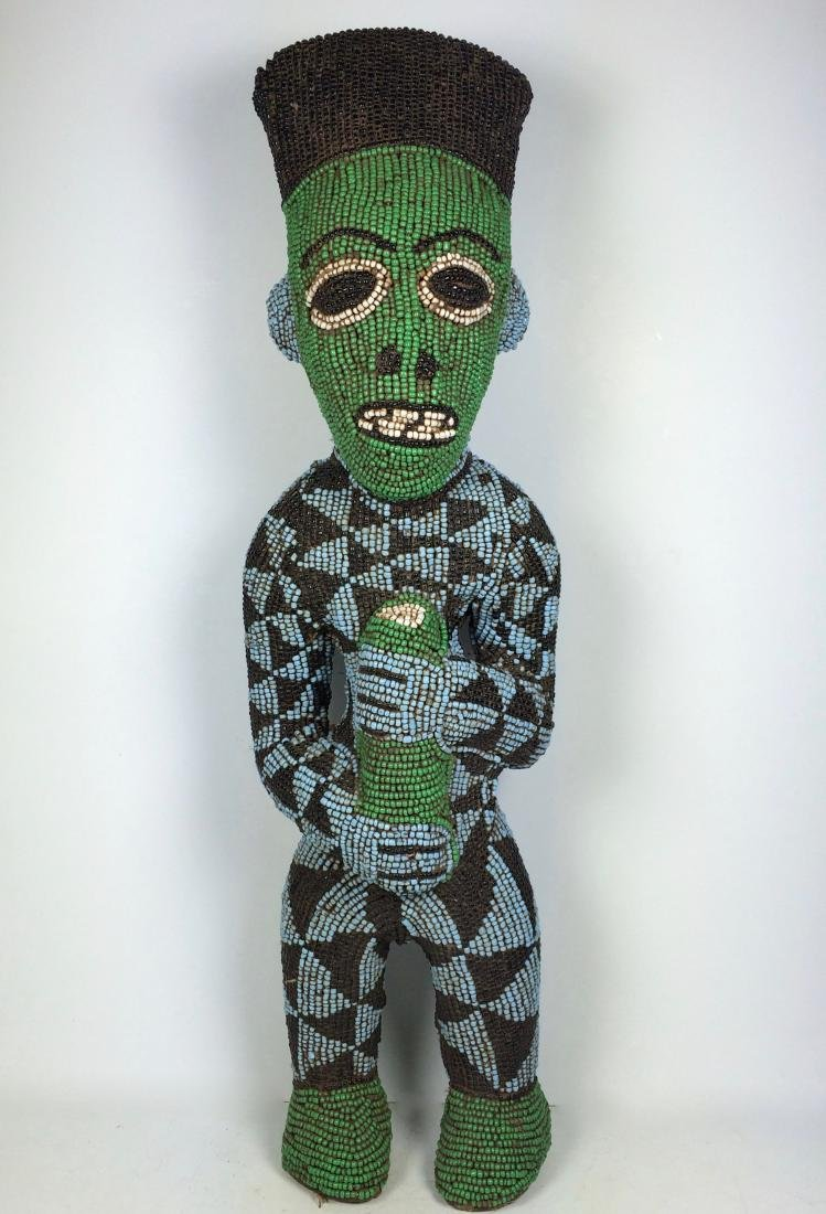 African Art Beaded Bamileke Statue from Cameroon