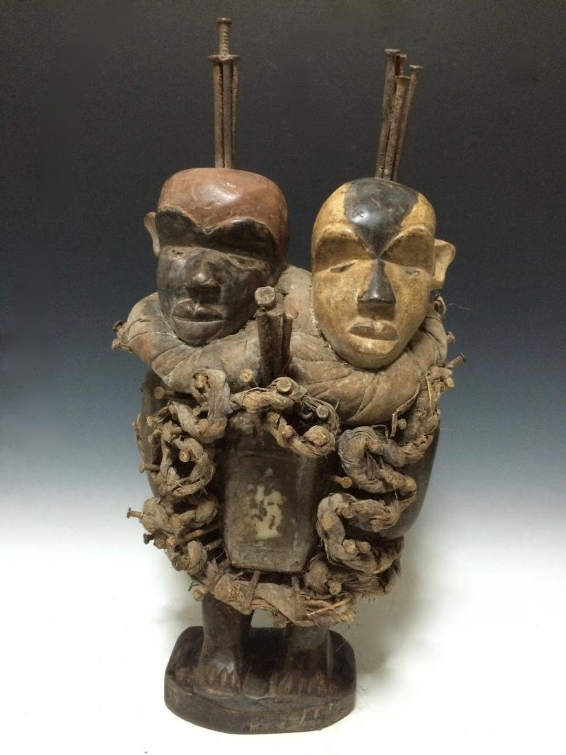 African Art Bacongo Twin Head Fetish from D.R. Congo