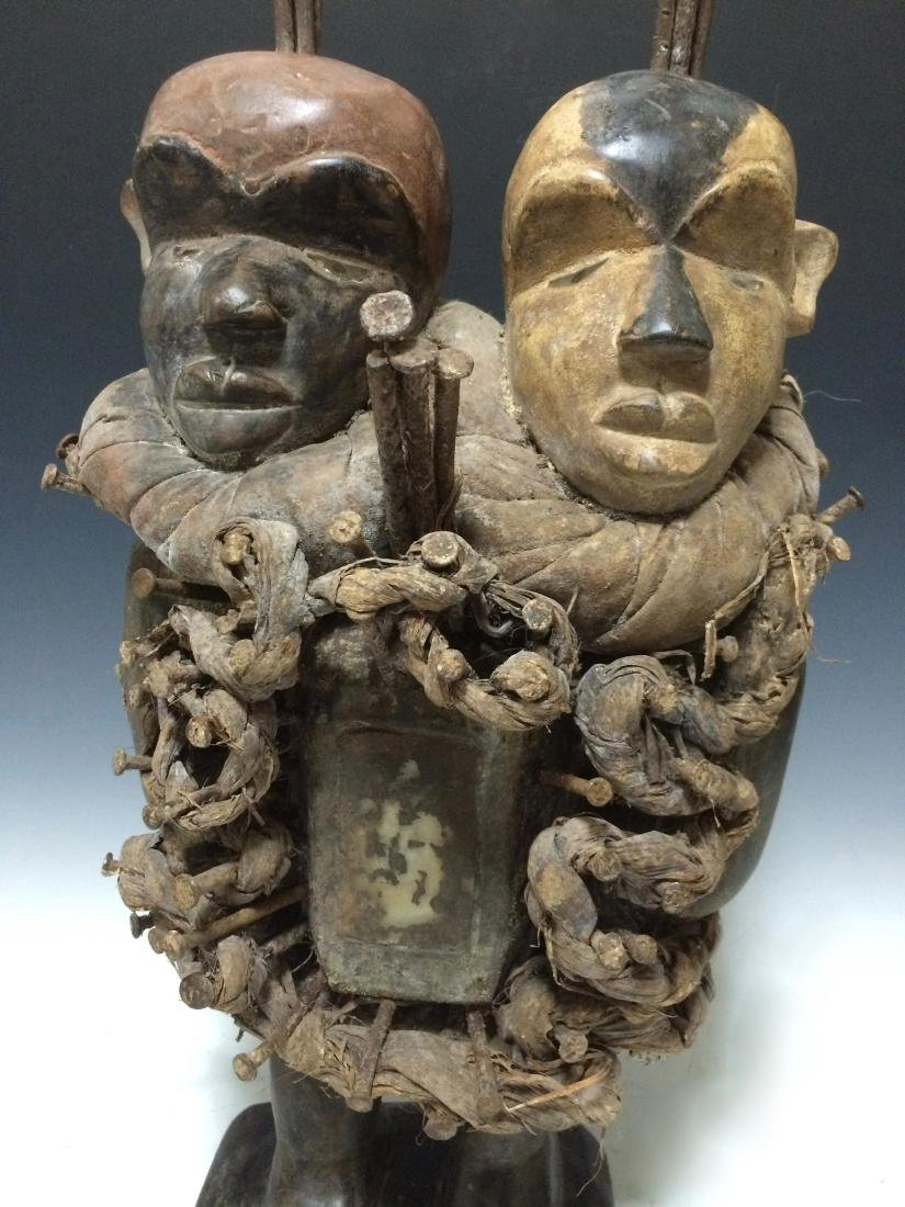 African Art Bacongo Twin Head Fetish from D.R. Congo - 2