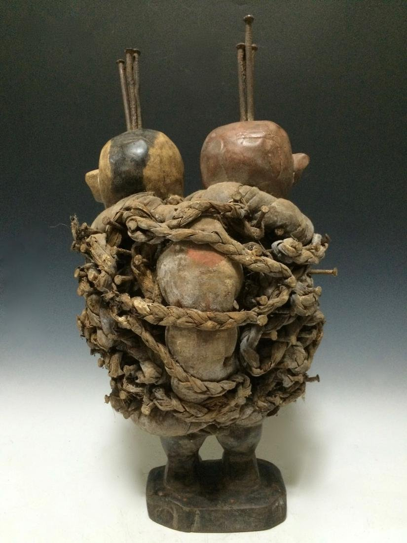 African Art Bacongo Twin Head Fetish from D.R. Congo - 3