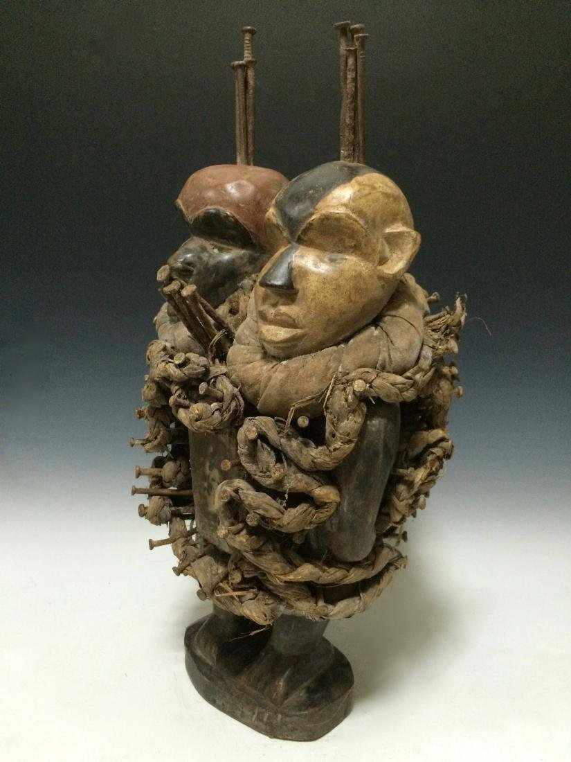 African Art Bacongo Twin Head Fetish from D.R. Congo - 5