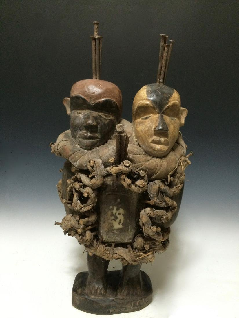 African Art Bacongo Twin Head Fetish from D.R. Congo - 6
