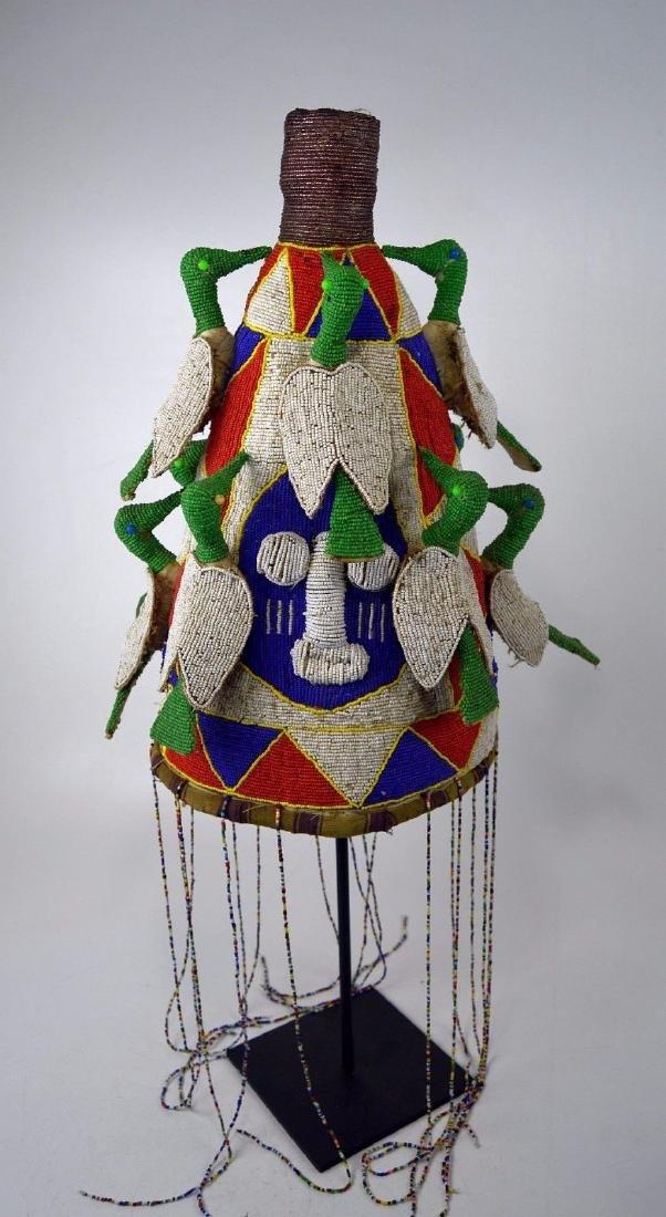 Yoruba Beaded Crown with Avian images