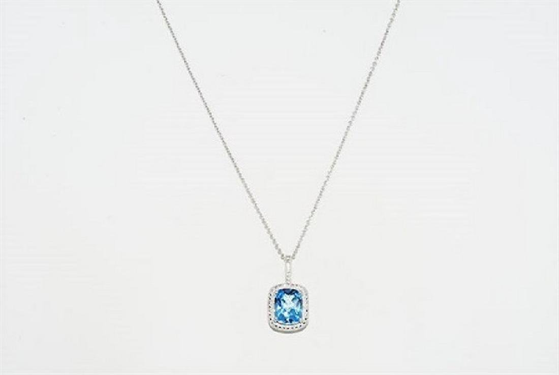 3.12ct Natural Blue Topaz & Diamond Necklace