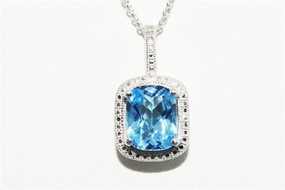 3.12ct Natural Blue Topaz & Diamond Necklace - 2