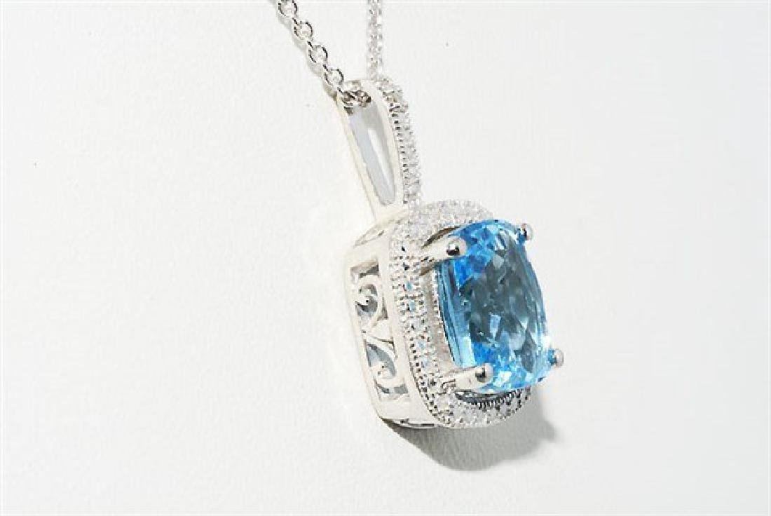 3.12ct Natural Blue Topaz & Diamond Necklace - 3