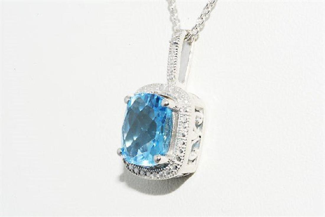 3.12ct Natural Blue Topaz & Diamond Necklace - 4
