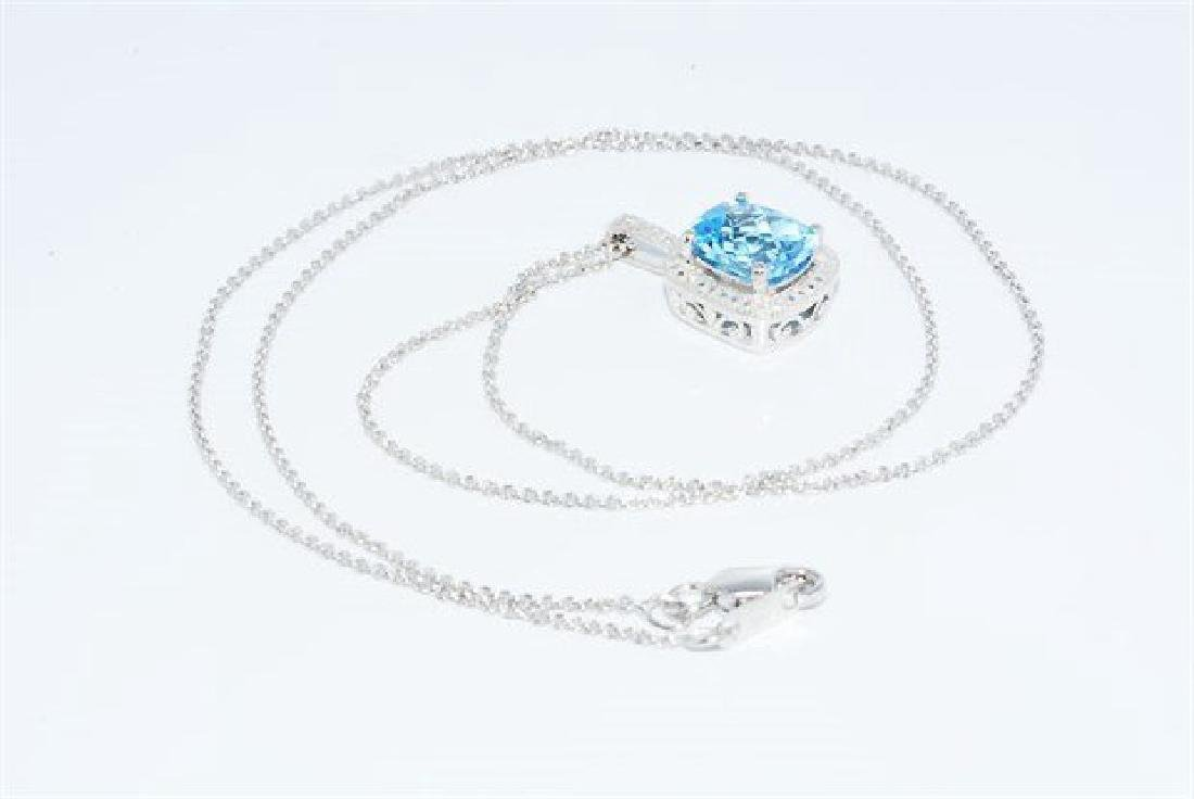 3.12ct Natural Blue Topaz & Diamond Necklace - 5