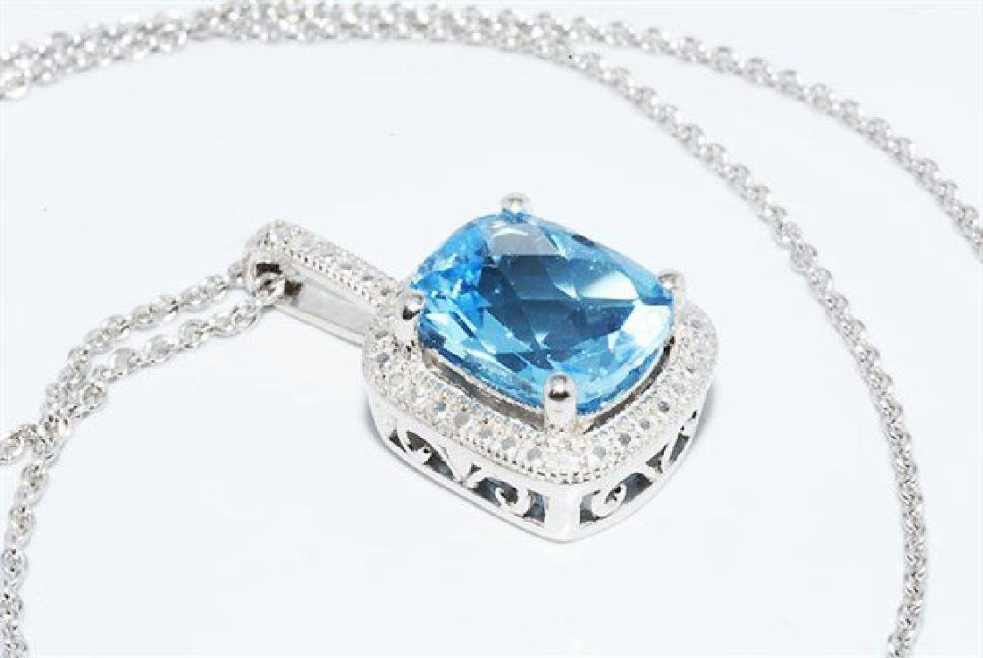 3.12ct Natural Blue Topaz & Diamond Necklace - 6