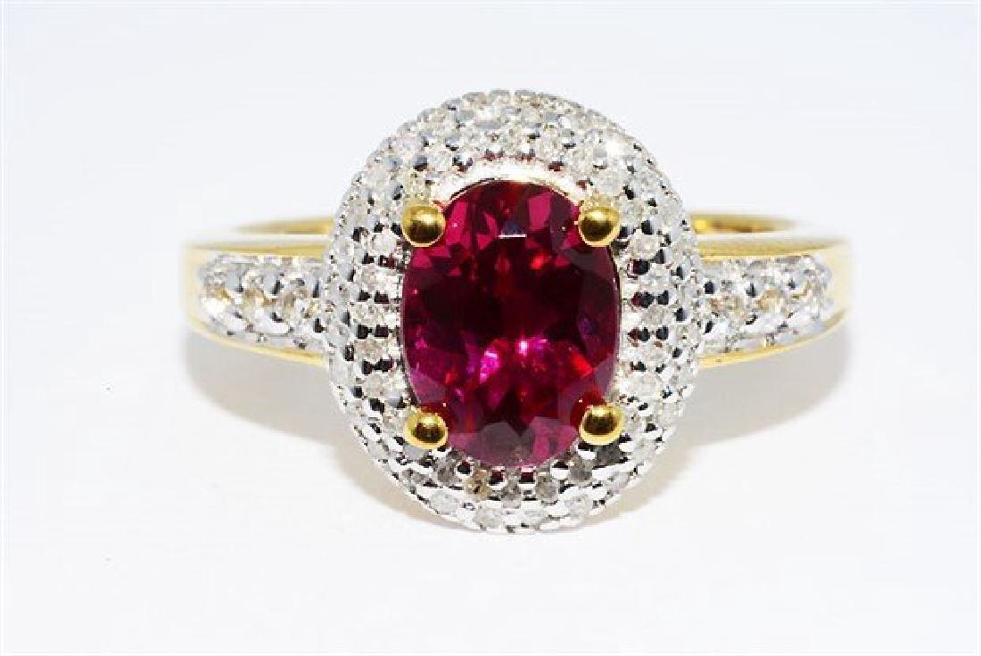 2.46ct Ruby Diamond White Topaz Cocktail Silver Ring