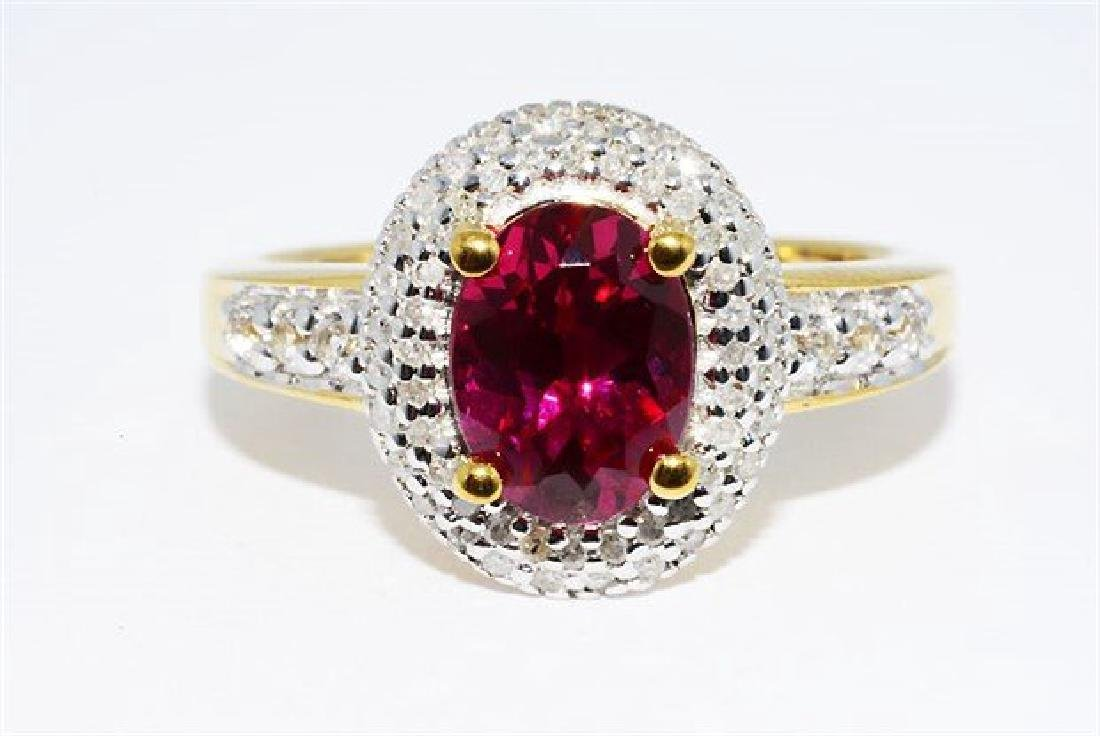 2.46ct Ruby Diamond White Topaz Cocktail Silver Ring