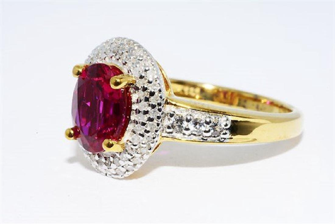 2.46ct Ruby Diamond White Topaz Cocktail Silver Ring - 2