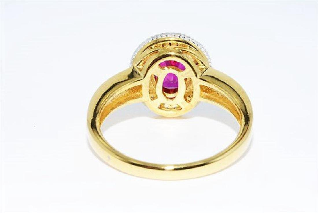 2.46ct Ruby Diamond White Topaz Cocktail Silver Ring - 4